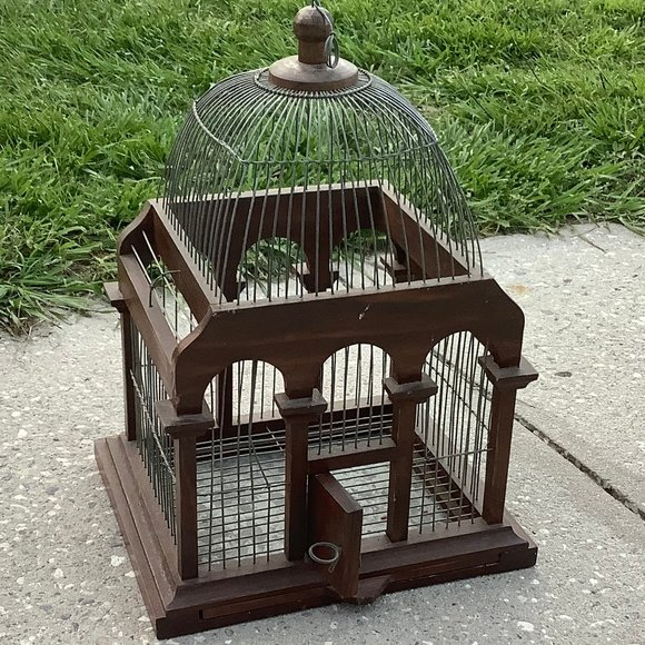 Vintage Wood Victorian Style Dome Top Bird Cage